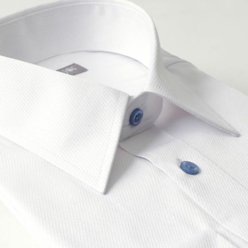 レギュラーカラー ワイシャツ 長袖 ホワイト 白 ツイル織り