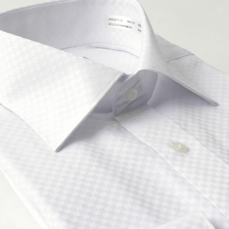 ワイシャツ長袖ワイドカラーホワイト白チェック織り柄