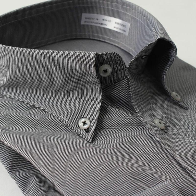 ワイシャツ長袖ボタンダウン千鳥柄ブラック黒白