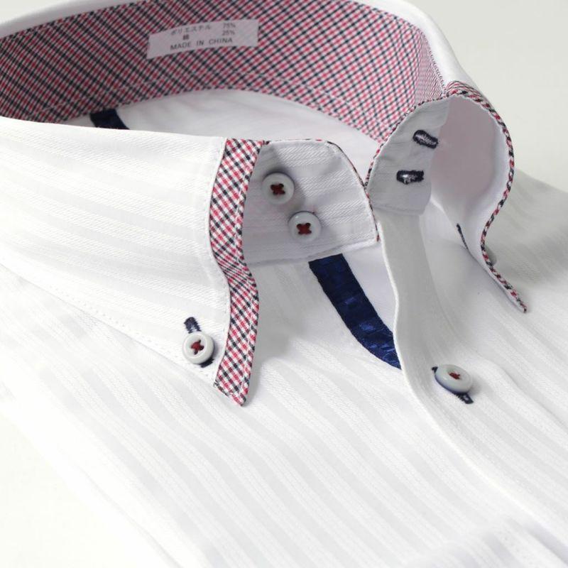 ボタンダウン衿ワイシャツ長袖メンズホワイト白ストライプ形態安定