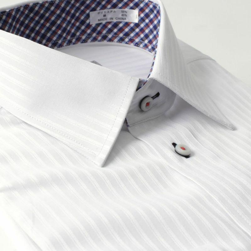ワイシャツ長袖レギュラーカラー衿ホワイト白ストライプメンズ形態安定