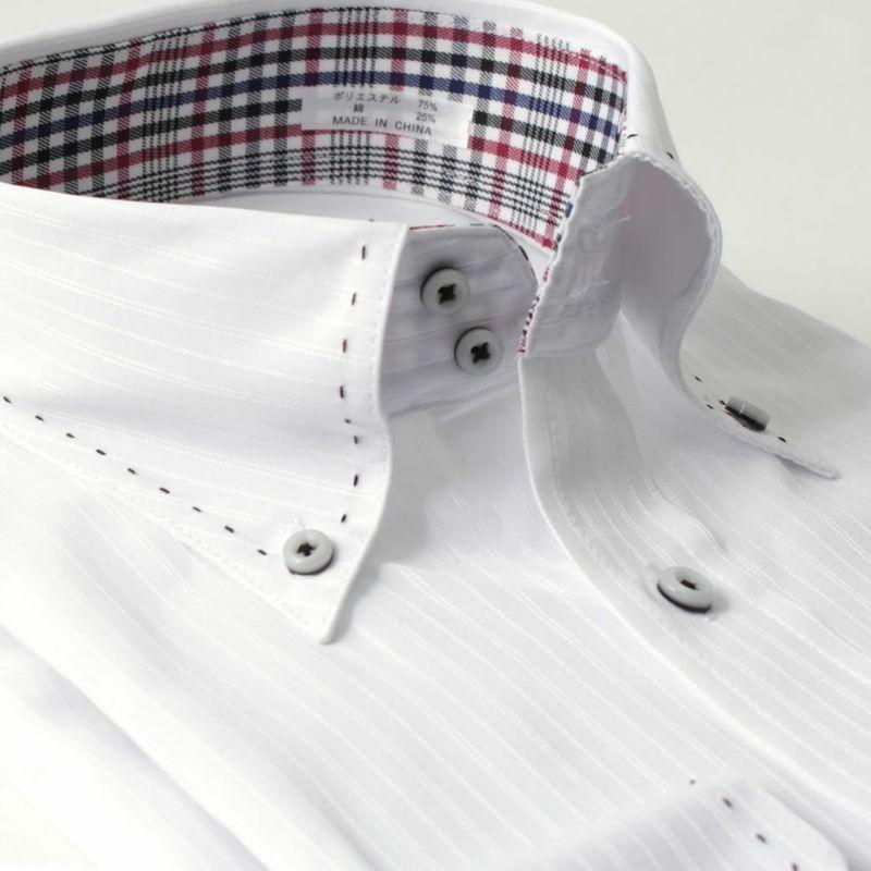 ワイシャツ長袖ボタンダウン白ホワイトストライプステッチ形態安定