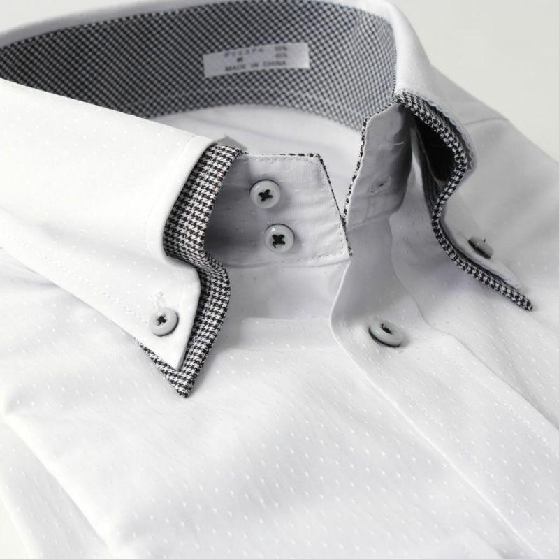 ワイシャツ長袖ボタンダウン2枚衿風ホワイト白 ドット形態安定