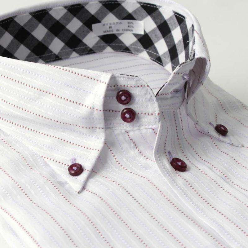 ワイシャツ長袖ボタンダウン衿ストライプ紫パープル形態安定