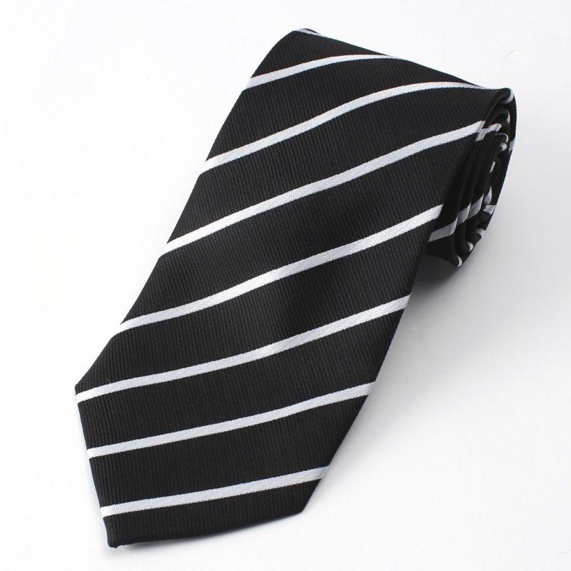 ネクタイストライプ黒ブラック白ホワイトメンズビジネス