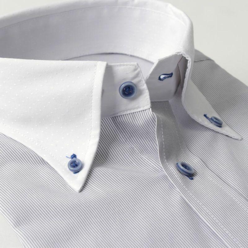 ワイシャツ長袖ボタンダウン衿クレリックストライプブルー白形態安定