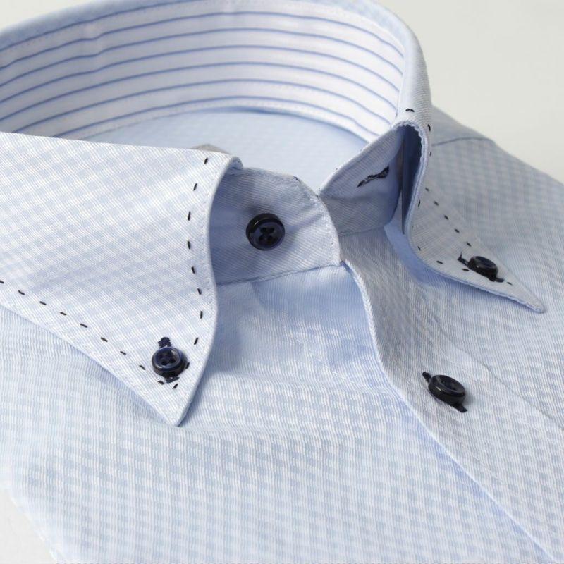 ワイシャツ長袖ボタンダウン衿チェックブルー青形態安定
