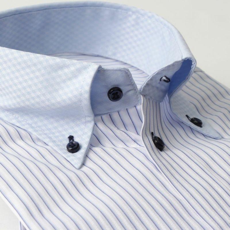 ワイシャツ長袖ボタンダウンクレリック衿ストライプブルー青形態安定