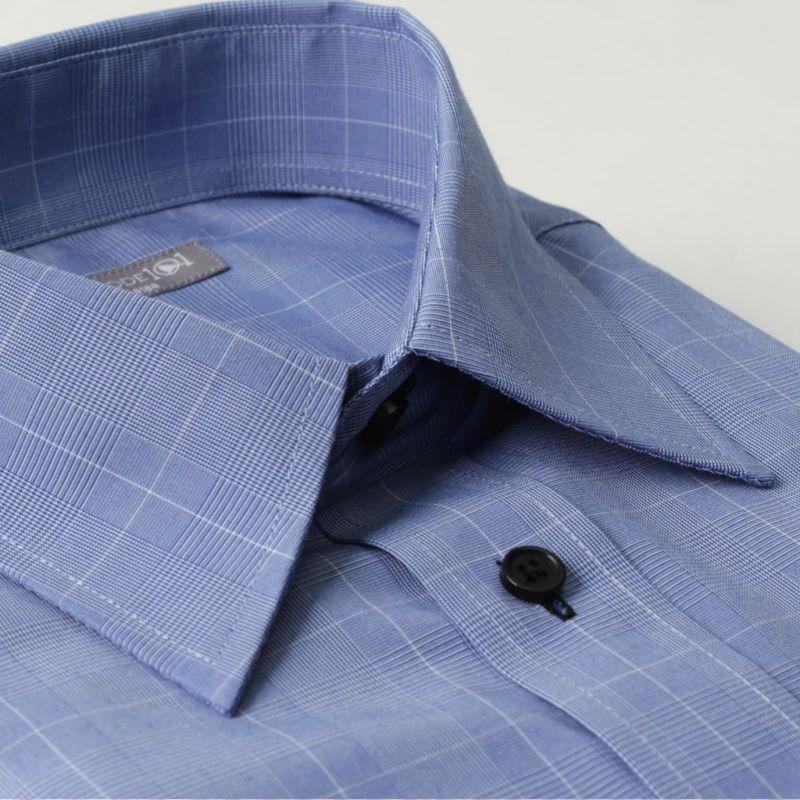 ワイシャツ長袖レギュラーカラーブルー青チェックビジネス