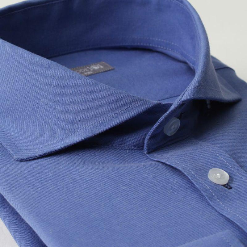 カッタウェイ長袖ワイシャツホリゾンタルカラー青ブルー