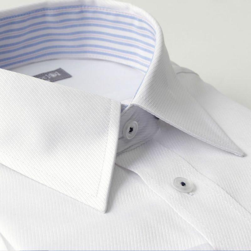 レギュラーカラーワイシャツ長袖ホワイト白ツイル織り
