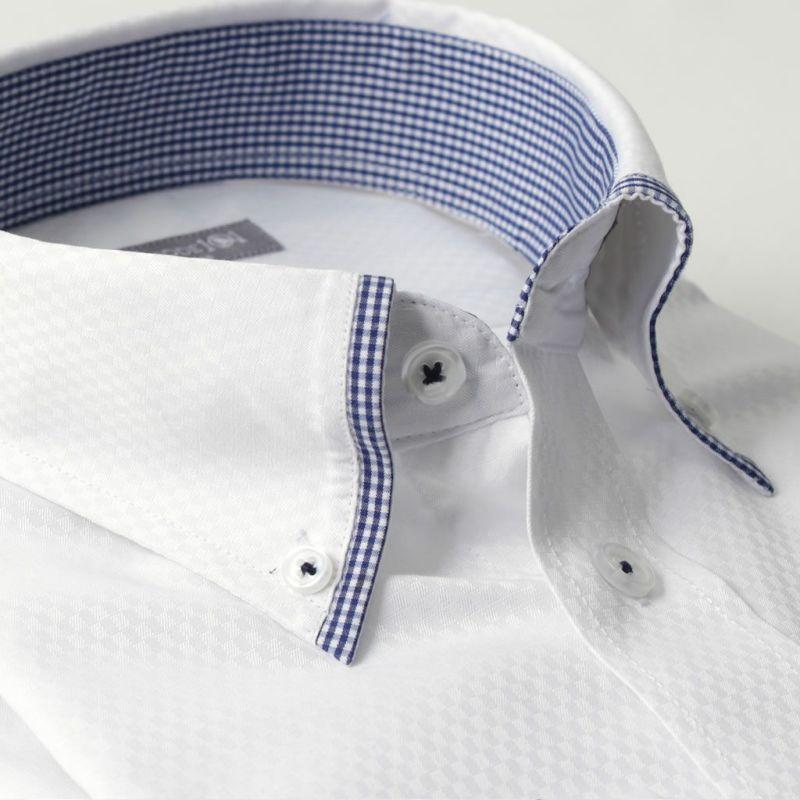 ボタンダウン長袖ワイシャツチェック白ホワイト織り柄ブルー