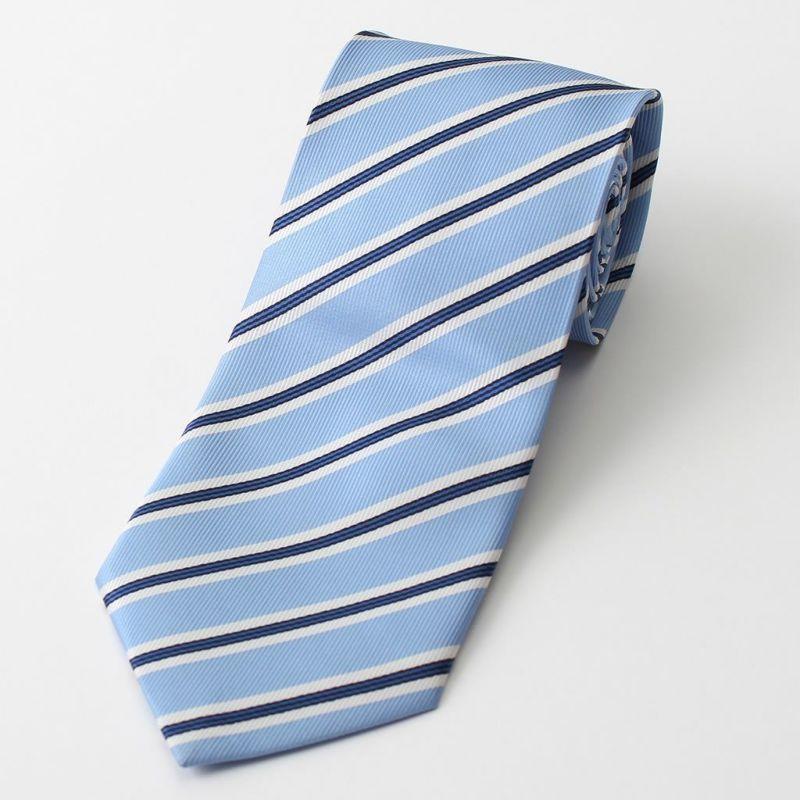 ネクタイストライプライトブルー青レギュラータイビジネス