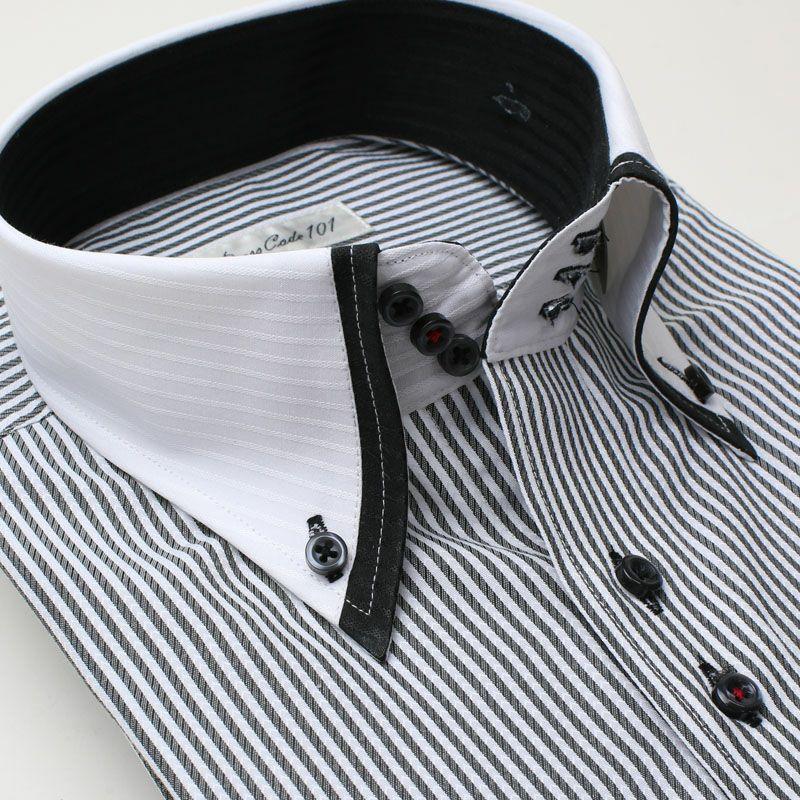 こだわりデザイン トレボットーニ ワイシャツ 長袖 ホワイト ストライプ メンズ