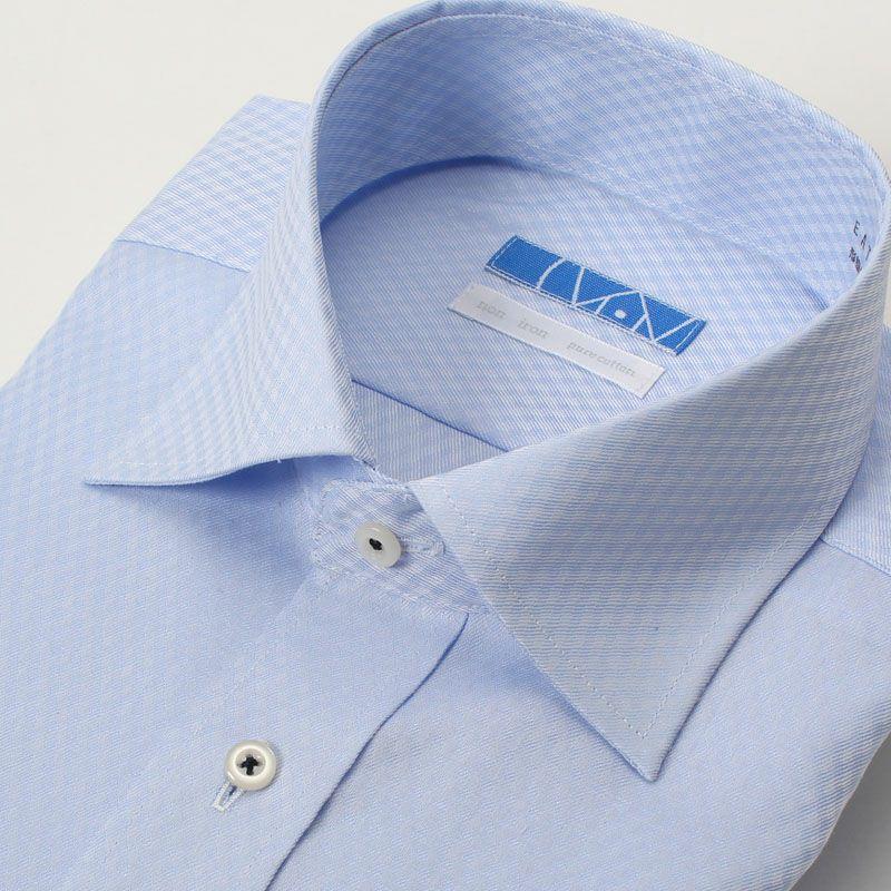 【返品OK】綿100% 超形態安定 長袖 ノーアイロン ワイドカラー ブルー ドビーチェック