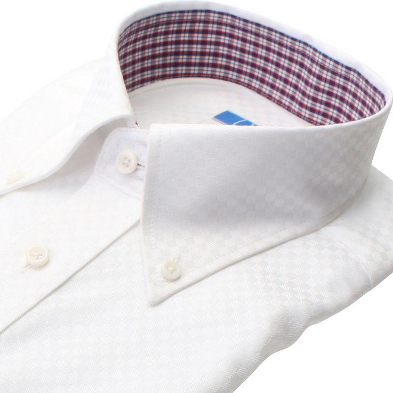 【返品OK】綿100% 超形態安定 長袖 ノーアイロン 襟裏デザイン ボタンダウン ホワイト 市松柄