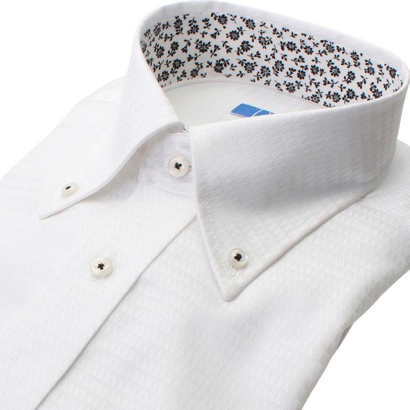 【返品OK】綿100% 超形態安定 長袖 ノーアイロン 襟裏デザイン ボタンダウン ホワイト 三角柄