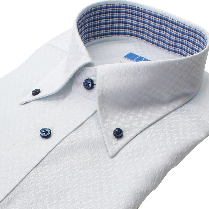 【返品OK】綿100% 超形態安定 長袖 ノーアイロン 襟裏デザイン ボタンダウン ブルー 市松柄