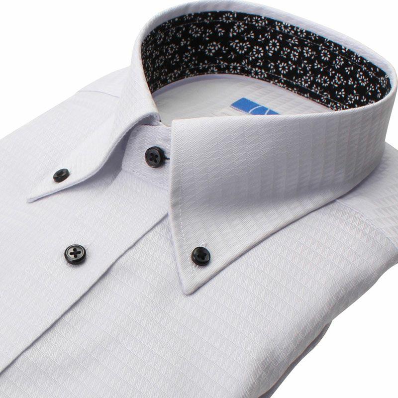 【返品OK】綿100% 超形態安定 長袖 ノーアイロン 襟裏デザイン ボタンダウン グレー 三角柄