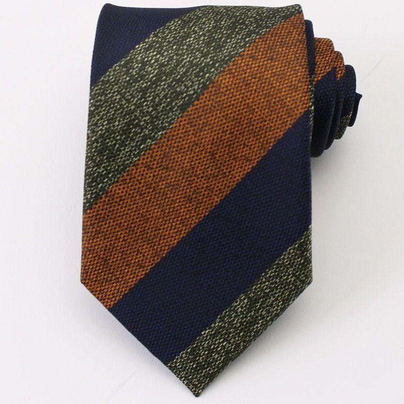 ウール調ネクタイ ウォッシャブル 切り返し デザイン ストライプ オレンジ グリーン