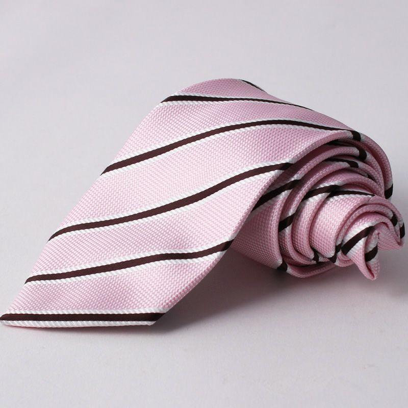 ネクタイ上質シルク混ストライプピンク