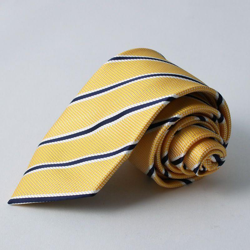 ネクタイ上質シルク混ストライプイエロー