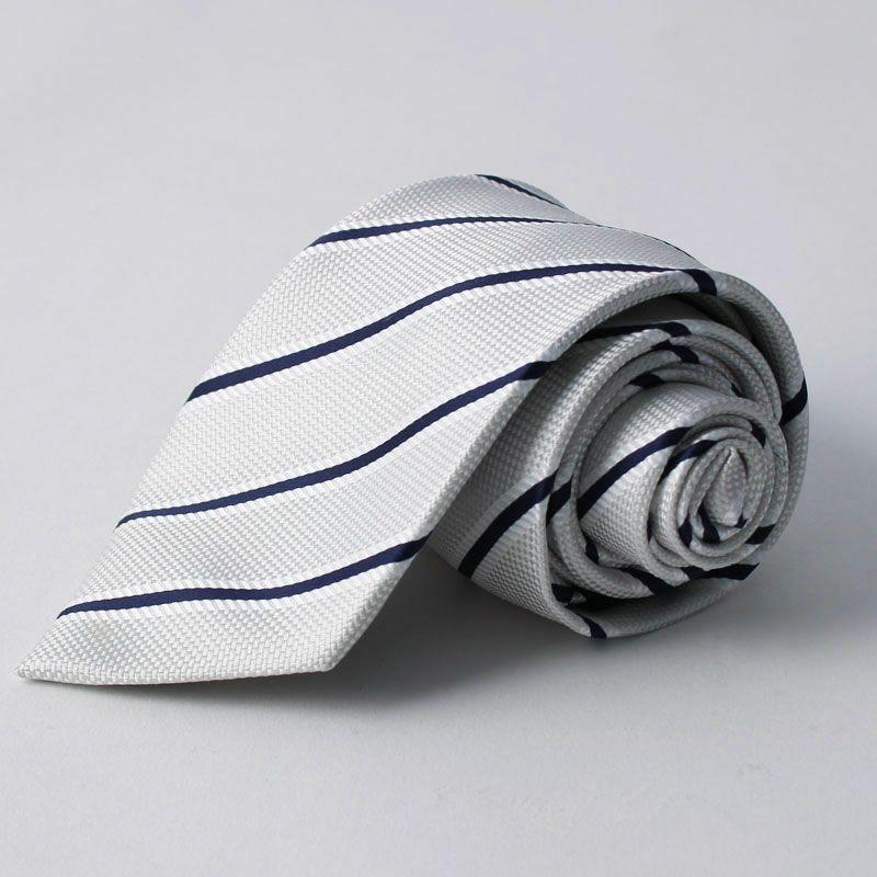 ネクタイ上質シルク混ストライプホワイト