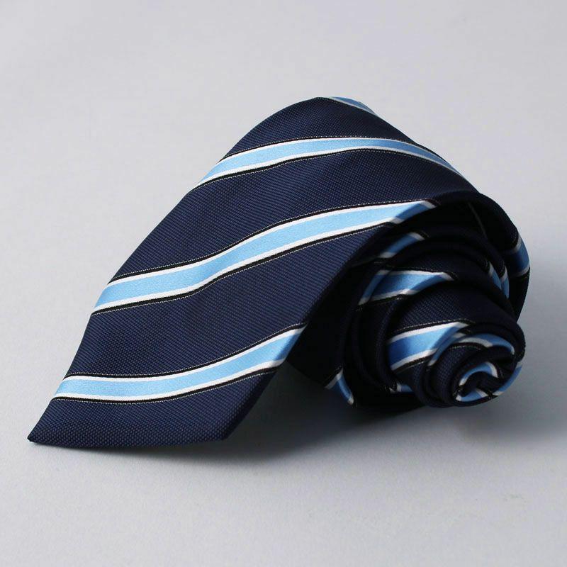 ネクタイ上質シルク混ストライプネイビーライトブルー