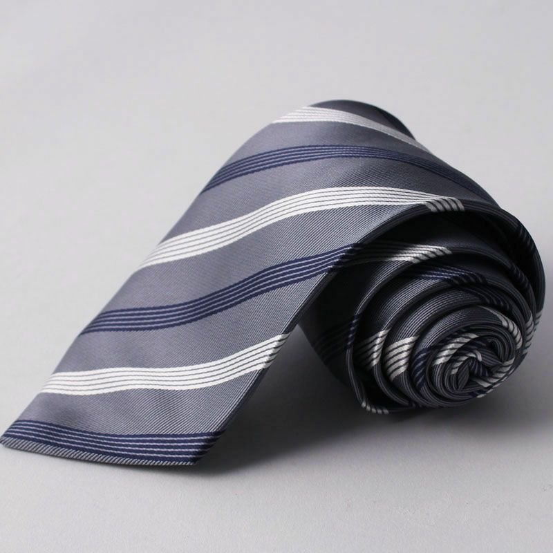 ネクタイ上質シルク混ストライプグレーホワイト