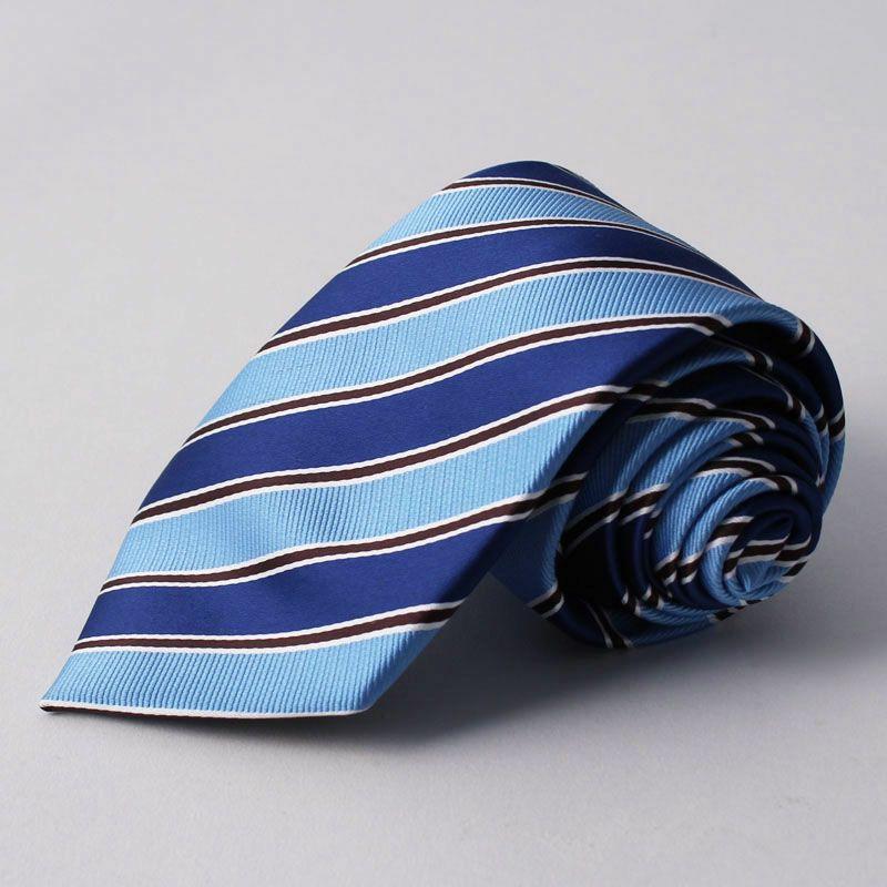 上質 シルク混 ネクタイ ストライプ ブルー ライトブルー