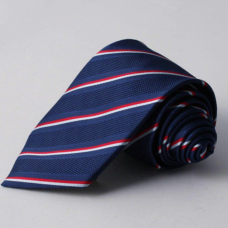 ネクタイ上質シルク混ストライプネイビーホワイトレッド