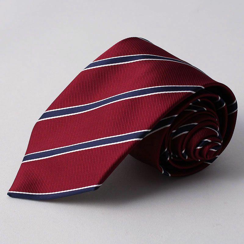 ネクタイ上質シルク混ストライプレッドホワイト