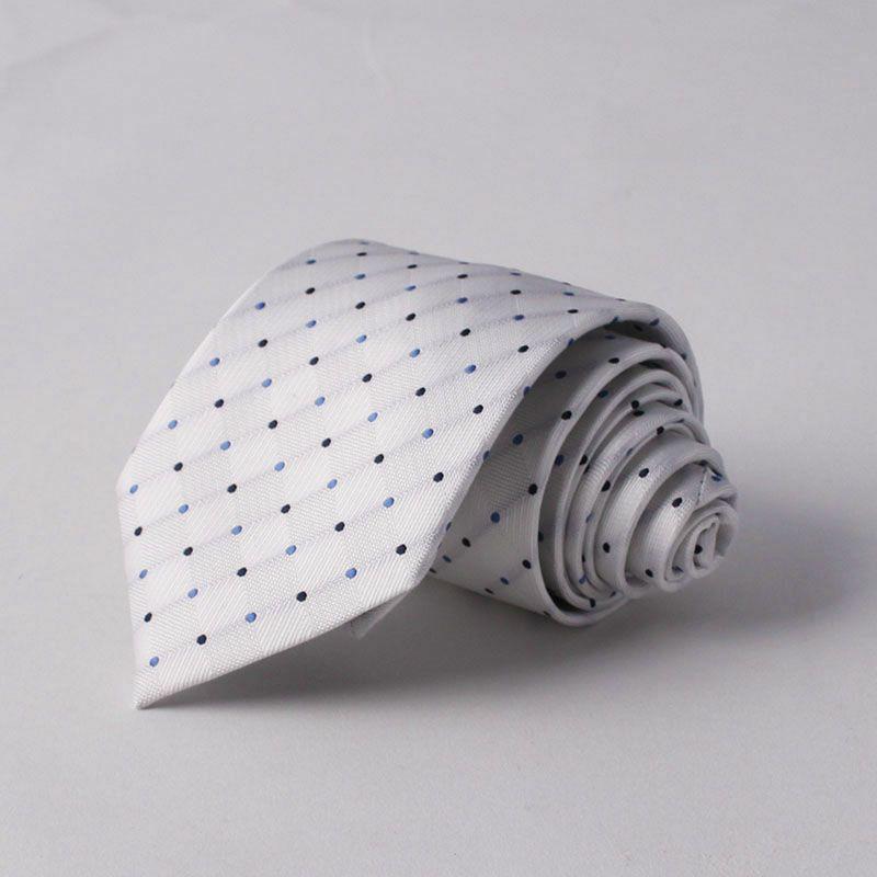 上質 シルク混 ネクタイ ドット ホワイト