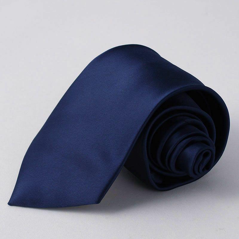 ネクタイ上質シルク混無地ネイビー