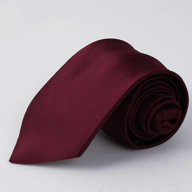 上質 シルク混 ネクタイ 無地 レッド
